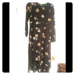 Long black and floral dress