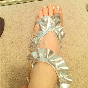 Silver ruffle sandles