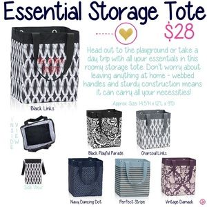 Genial Thirty One Bags   Thirty One Essential Storage Tote, Damask, New