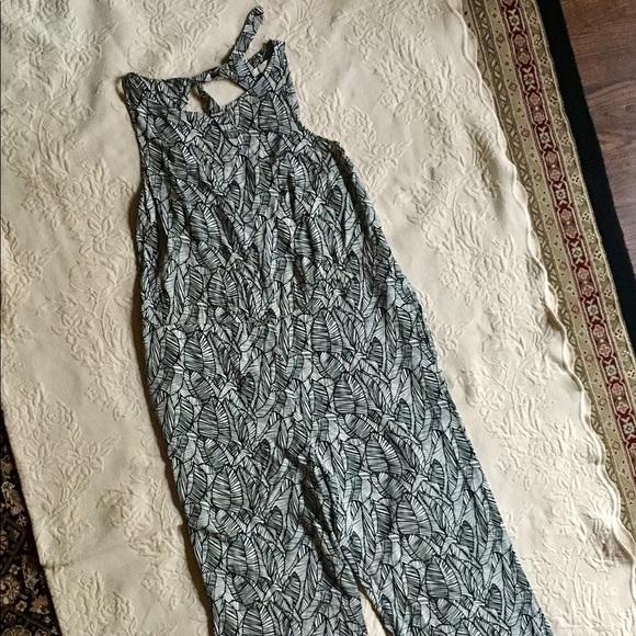 1aa660cac6fc LOFT Pants - Ann Taylor Loft Black White Leaf Tie Back Jumpsuit