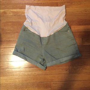 Pants - Olive green denim (stretch) shorts