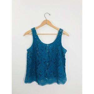 Teal Crochet Lace Tank • Medium