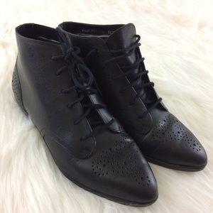 Vintage Brazilian Leather Black Lace-up Boots