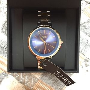 NWT Jones New York men's blue/silver/gold watch