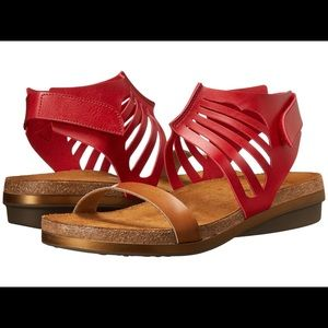 BNWT Naot Mint Red Gladiator Leather Sandals Sz 6