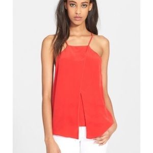 Milly 8 Tank Top Blouse Red Silk Stretch Shirt M