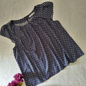 Sunny Girl Short Sleeve White Blue Polka Dot 3x