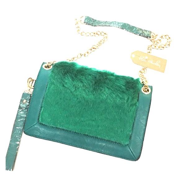 Handbags - 🆕Faux Fur Green Vegan Leather Handbag