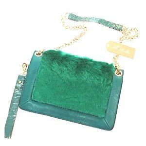 Bags - 🆕Faux Fur Green Vegan Leather Handbag