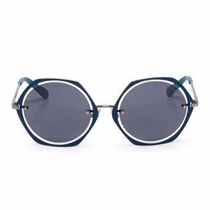 Henri Bendel Clarissa round blue sunglasses