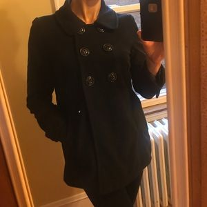 Jackets & Blazers - Black pea coat, double breasted, lined, sz L