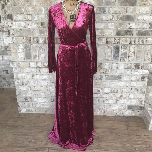 ab83d68af8 Gianni Bini Dresses   Skirts - Rotar Velvet Burgundy Long Sleeve Wrap Dress