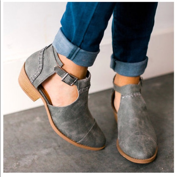 Buckled Side Cut Out Ankle Boots Ash