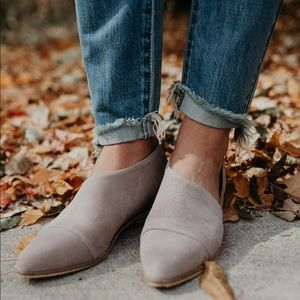 Shoes - Taupe Suede Cut Out Flats