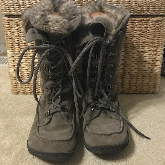 1aa5451e7f83d Sam Edelman Mariela Fur Gray Lace Up Boots 7.5. M 5a02373356b2d6effc03796b