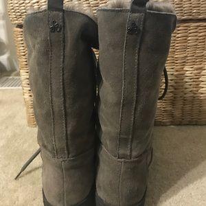 eee2941594617 Sam Edelman Shoes - Sam Edelman Mariela Fur Gray Lace Up Boots 7.5