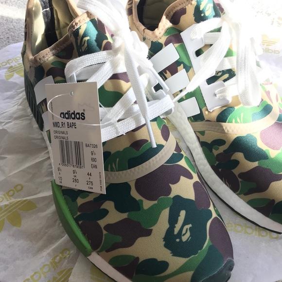 a0146e22a4a63 adidas Shoes | X Bape Nmd R1 Bape Olive Camo Size 10 | Poshmark