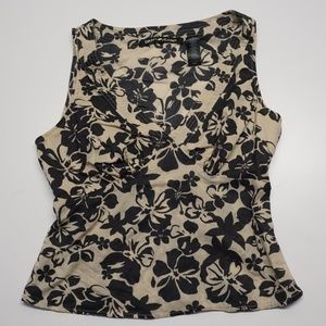 DKNY Jeans Top Size 8 Black Beige Floral Side Zip