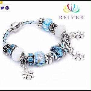 Jewelry - Silver Plated Smoke/PetFree Blue Beaded Bracelet