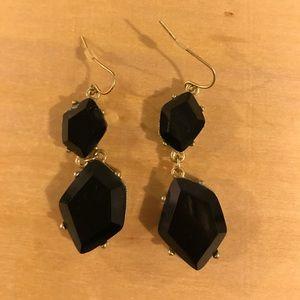 Price🔻Zara Black Crystal Drop Gold Earrings