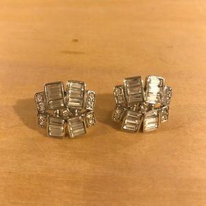 Price🔻Zara Crystal &Silver Art Deco Stud Earrings