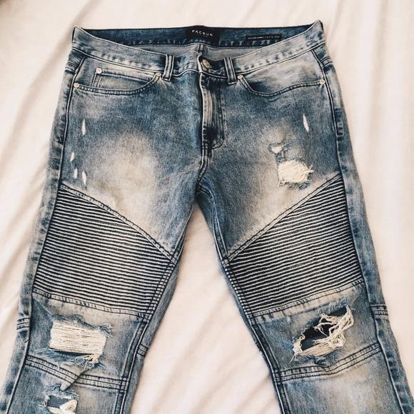 25bd92f1 PacSun Jeans | Light Wash Biker Distressed 32x30 | Poshmark