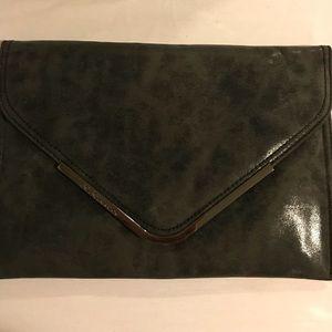 BCBG Black faux leather envelope clutch