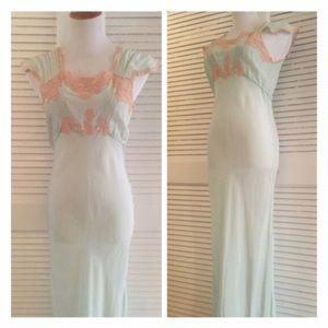 Vintage 1940s Silk Mint Green  Slip/ Gown