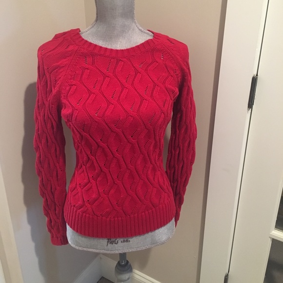 566ba28911 Petite Sophisticate red cable knit sweater