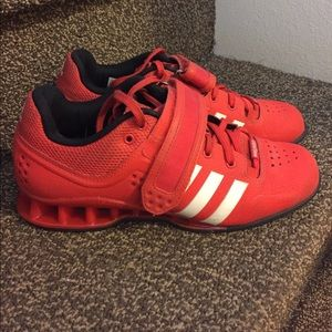 RED ADIPOWER ADIDAS WEIGHTLIFTING SHOES