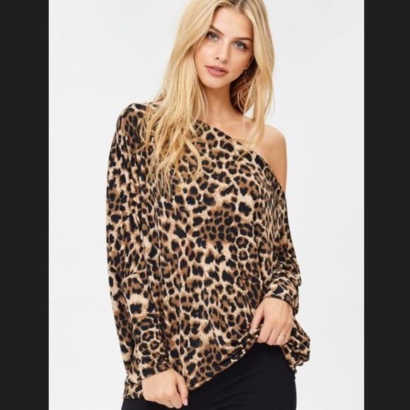 8f68b3e08873 Tops | Off The Shoulder Leopard Print Top Jersey Knit | Poshmark
