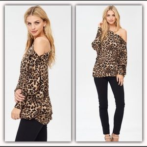 40f188f3f8 Tops - Off the Shoulder Leopard Print Top Jersey Knit