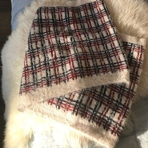 Infinity thick red, blue & cream plaid scarf