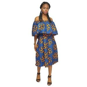 2021800806a19 African print Blue and yellow blouse and skirt.  39  100. Size  10 · Ankara