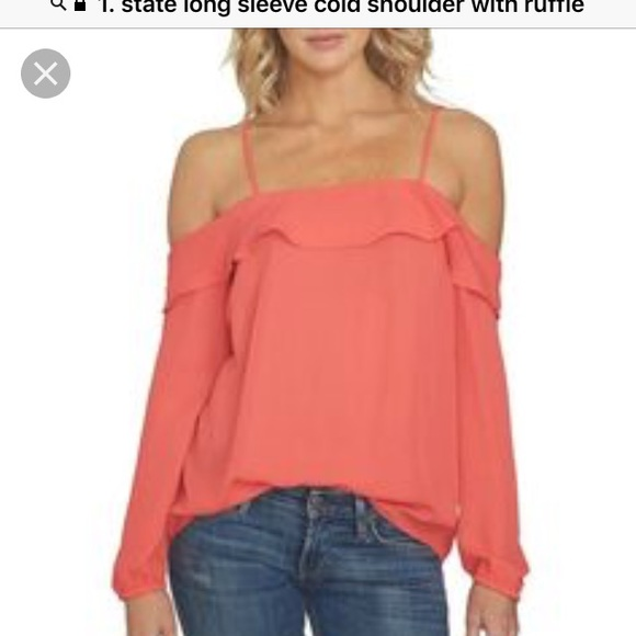 9949bb292 1. State Tops | 1 State Cold Shoulder Blouse Coral Size Xl Silky ...