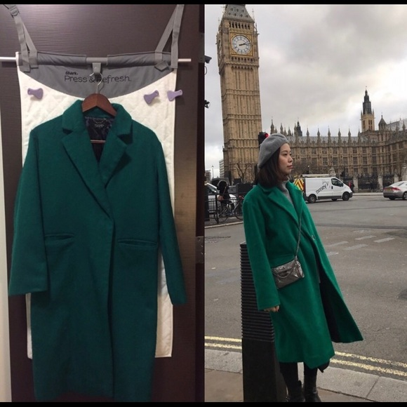 wide selection of colors sleek low priced Topshop green coat! Chic!!