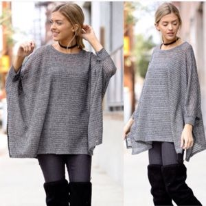 😍LAST-S😍 Sheer Knit Gray Batwing Loose Top