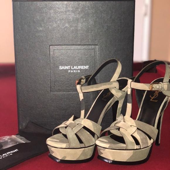7301f7c5946 Yves Saint Laurent Shoes | Ysl Softy Camo Heels | Poshmark