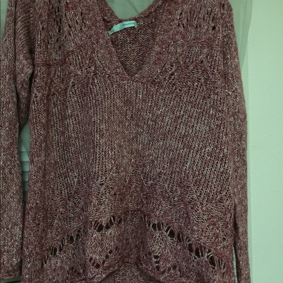 Maurice's Shimmery pink sweater with hood NWT