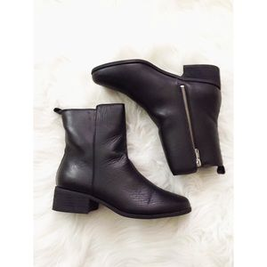 Gap Leather Black Moto Boots
