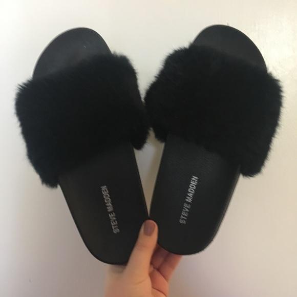d85260ad4040b Steve Madden Shoes | Brand New Black Fluffy Slides | Poshmark