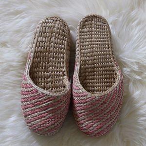 Vintage Wicker House Shoes Slippers Women