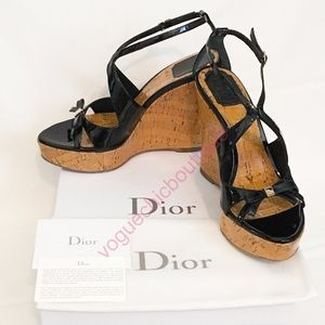 Auth Christian Dior Starlet Bow Platform Heels EUC