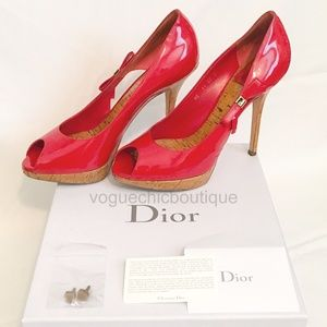 Auth Christian Dior Starlet Bow Peep Toe Heels Red
