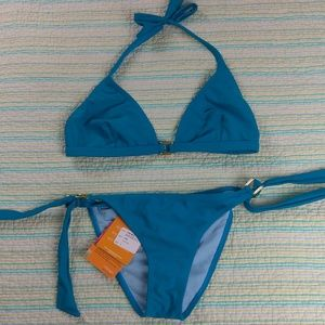 NWT Maya L Teal Blue Gold Buckle Halter Bikini