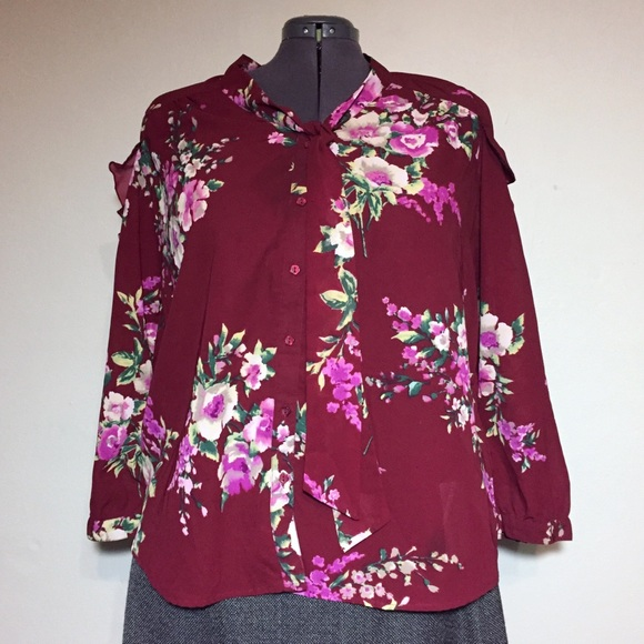 554d8d40545 Roaman s Burgundy Floral Top Blouse Ruffle Sleeves