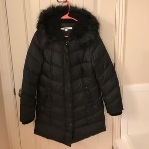 DKNY Faux Fur Hooded Mid Length Down Puffer Coat S