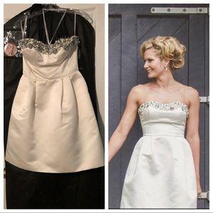Sherri Hill strapless white cocktail dress size 4