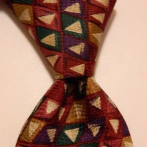 ALTEA Silk Necktie ITALY Triangles Multi-Color EUC