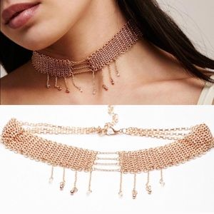 NWT free people tainted love chain choker rose